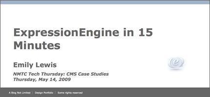 Screen shot of ExpressionEngine in 15 Minutes slideshow