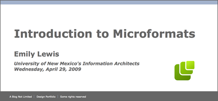 Screen shot of Introduction to Microformats slideshow