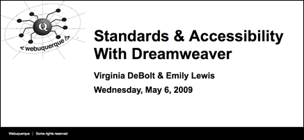 Screen shot of Standards and Accessibility With Dreamweaver slideshow